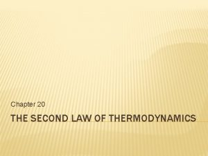 Chapter 20 THE SECOND LAW OF THERMODYNAMICS REVERSIBLE