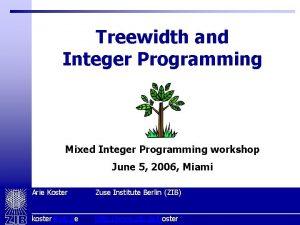 Treewidth and Integer Programming Mixed Integer Programming workshop
