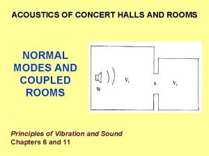 ACOUSTICS OF CONCERT HALLS AND ROOMS NORMAL MODES