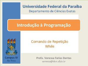 Universidade Federal da Paraba Departamento de Cincias Exatas