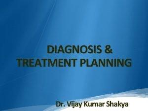 DIAGNOSIS TREATMENT PLANNING Dr Vijay Kumar Shakya INTRODUCTION