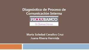 Diagnstico de Proceso de Comunicacin Interna Mara Soledad