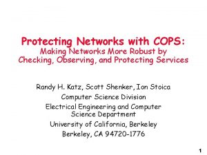 Protecting Networks with COPS Making Networks More Robust