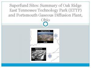 Superfund Sites Summary of Oak Ridge East Tennessee