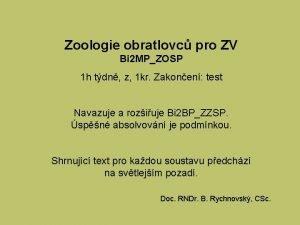 Zoologie obratlovc pro ZV Bi 2 MPZOSP 1