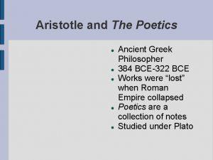 Aristotle and The Poetics Ancient Greek Philosopher 384
