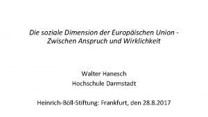 Die soziale Dimension der Europischen Union Zwischen Anspruch