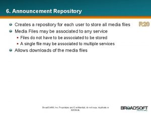 6 Announcement Repository Creates a repository for each