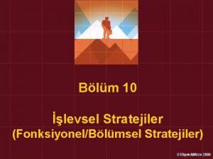 Blm 10 levsel Stratejiler FonksiyonelBlmsel Stratejiler lgenMirze 2004