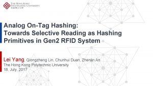 Analog OnTag Hashing Towards Selective Reading as Hashing