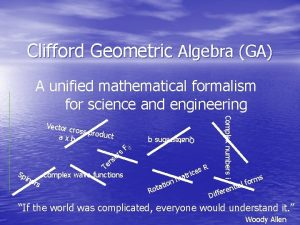 Clifford Geometric Algebra GA A unified mathematical formalism