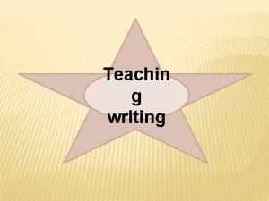 Teachin g writing Writing v Writing is the