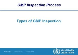 GMP Inspection Process Types of GMP Inspection Module
