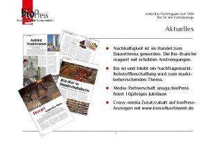 erstes BioFachmagazin seit 1994 Bio fr alle Vertriebswege