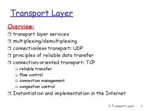 Transport Layer Overview r transport layer services r