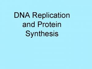 DNA Replication and Protein Synthesis I DNA Deoxyribonucleic