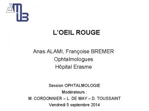 Le LOEIL ROUGE Anas ALAMI Franoise BREMER Ophtalmologues