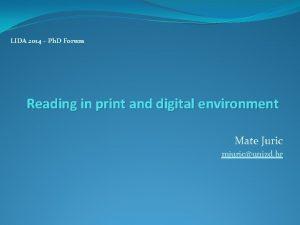LIDA 2014 Ph D Forum Reading in print
