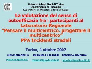 Universit degli Studi di Torino Dipartimento di Psicologia