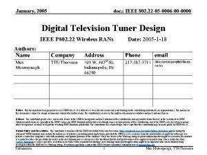 January 2005 doc IEEE 802 22 05 0006