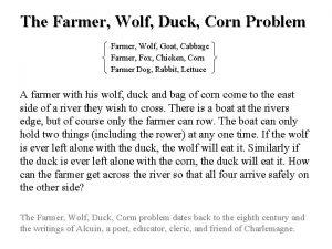 The Farmer Wolf Duck Corn Problem Farmer Wolf