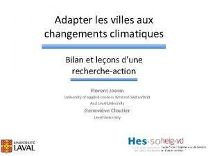Adapter les villes aux changements climatiques Bilan et