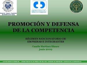 PROMOCIN Y DEFENSA DE LA COMPETENCIA RGIMEN SANCIONATORIO