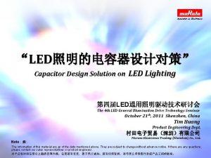 LED Capacitor Design Solution on LED Lighting LED
