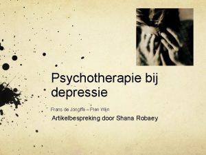Psychotherapie bij depressie Frans de Jonghe Pien Wijn