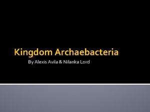 Kingdom Archaebacteria By Alexis Avila Nilanka Lord Archaebacteria