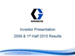 Investor Presentation 2009 1 st Half 2010 Results