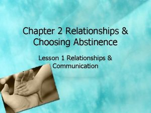 Chapter 2 Relationships Choosing Abstinence Lesson 1 Relationships
