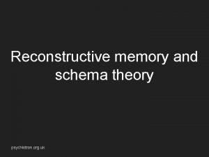 Reconstructive memory and schema theory psychlotron org uk
