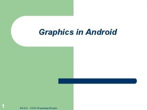 Graphics in Android 1 Fall 2012 CS 2302