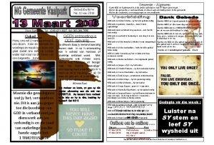 Gemeente Algemeen Gebedsbulletin No 11 van 2016 Dank