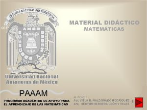 MATERIAL DIDCTICO MATEMTICAS PAAAM PROGRAMA ACADMICO DE APOYO