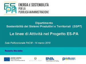 Dipartimento Sostenibilit dei Sistemi Produttivi e Territoriali SSPT