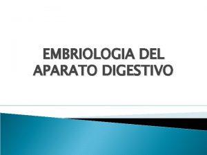 EMBRIOLOGIA DEL APARATO DIGESTIVO Aparato digestivo Se desarrolla