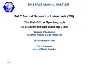 2012 SALT Meeting SALT 2 GI SALT Second