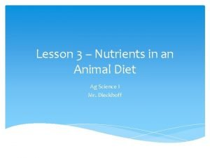 Lesson 3 Nutrients in an Animal Diet Ag