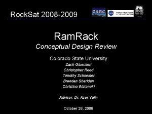 Rock Sat 2008 2009 Ram Rack Conceptual Design