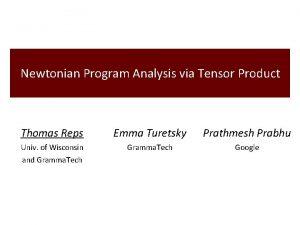 Newtonian Program Analysis via Tensor Product Thomas Reps