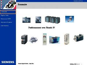 Automation and Drives Sommaire SOMMAIRE Rappel sur Codeur