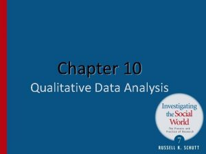 Chapter 10 Qualitative Data Analysis Features of Qualitative