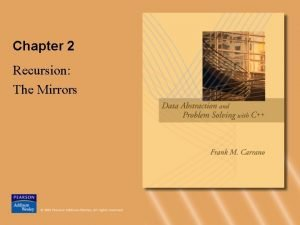 Chapter 2 Recursion The Mirrors Recursive Solutions Recursion