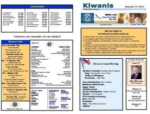January 27 2011 CLUB MEMBERS Florida District Division