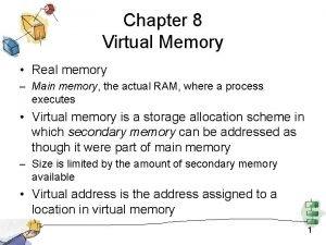 Chapter 8 Virtual Memory Real memory Main memory