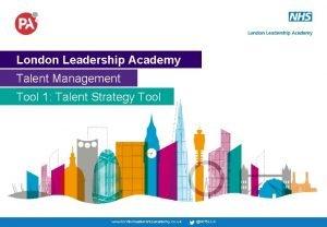 London Leadership Academy Talent Management Tool 1 Talent