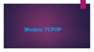 Modelo TCPIP Arquitectura El modelo OSI describe las