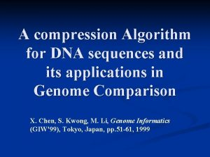 A compression Algorithm for DNA sequences and its